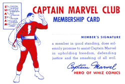 Captain Marvel Club Membership Card