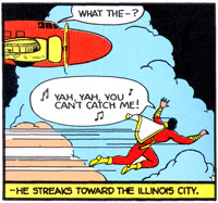 Captain Marvel flies in Whiz Comics #5 (Jun 1940)