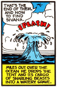 Captain Marvel drops a bag of snarling beasts in the ocean in Whiz Comics #6 (Jul 1940)