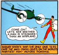 Captain Marvel prepares to let a plane crash into his chest while floating in mid-air in Whiz Comics #7 (Aug 1940)