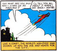 Captain Marvel flies away while being compared to an airplane in Whiz Comics #9 (Oct 1940)