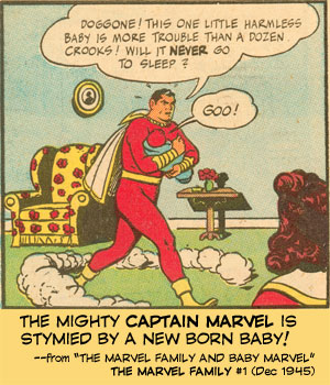 The Mighty Captain Marvel is stymied by a new born baby!